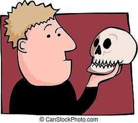 A cartoon hamlet hold the skull of yorick.
