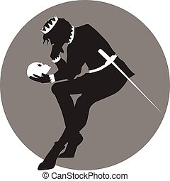 Hamlet - Black and white illustration of Hamlet with a skull...