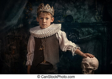 Hamlet - Prince of Denmark - Boy in the clothes and crown of...
