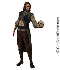 Hamlet from the Shakespeare play, 3d digitally rendered illustration