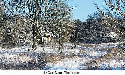 Hamlet - Winter rural landscape with old deserted hamlet
