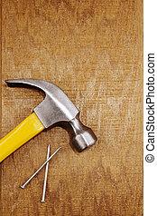 hammare, och, fingernagel