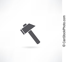 hammer., περίγραμμα , επάνω , ένα , άσπρο , φόντο.