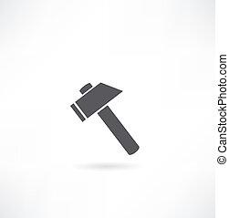 hammer., シルエット, 上に, a, 白, バックグラウンド。