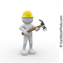 Hammer - 3d people -human character with a hammer. 3d render...