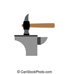Hammer and anvil. smith tools. Accessory blacksmithing