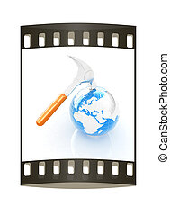 Hammer and earth on white background . The film strip