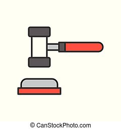 hammer and gavel, judge icon, editable stroke outline