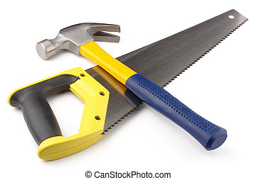 Hammer and hand-saw - Crossed hammer and hand-saw, isolated ...