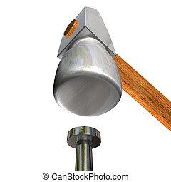 3d image of hammer and nail