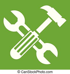 Hammer and screw wrench icon green
