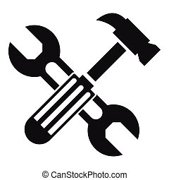 Hammer and screw wrench icon, simple style - Hammer and...