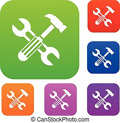 Hammer and screw wrench set collection