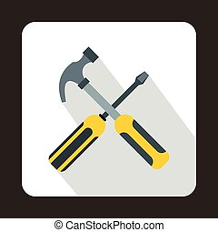 Hammer and screwdriver icon, flat style