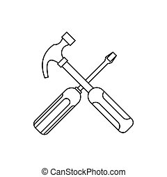 Hammer and screwdriver icon, outline style