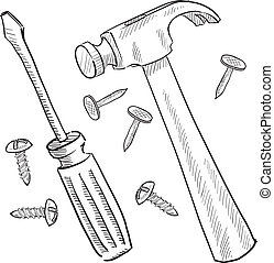 Hammer and screwdriver sketch - Doodle style tools or home...