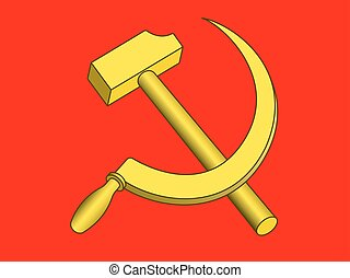 Hammer and sickle on red