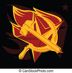 hammer and sickle on the flame star communism symbol