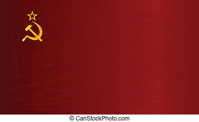 USSR Flag - Hammer and Sickle set on a USSR Flag with grunge...