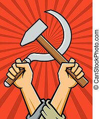 Illustration of raised fists holding crossed hammer and sickle in the style of Russian Constructivist Propaganda posters.