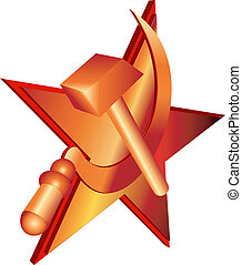 Vector hammer and sickle, communist symbol.