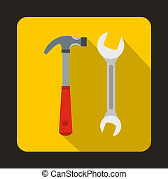 Hammer and wrench icon, flat style