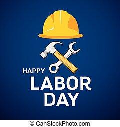 hammer, arbeit, kappe, design, maulschlüssel, architekt, tag, glücklich