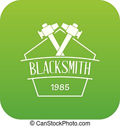 Hammer blacksmith icon green vector