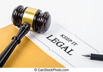 hammer., bois, il, légal, garder, juge