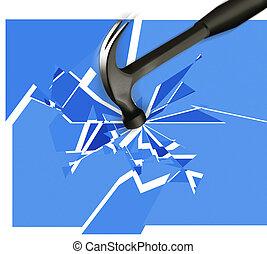 Hammer breaking glass