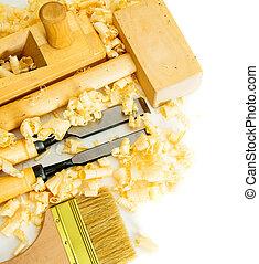 hammer), (brush, joiner's, achtergrond., beitel, witte , gereedschap