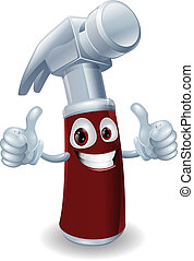 Hammer cartoon character mascot giving a double thumbs up