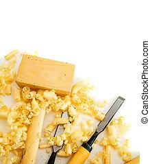 hammer), (chisel, joiner's, achtergrond., witte , gereedschap