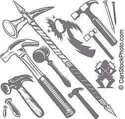A clip art collection of various hammers