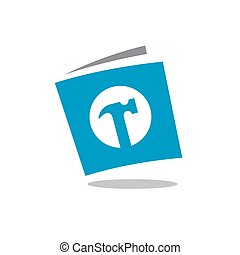 Hammer Combined With Book Symbol, Vector Logo Illustration, Simple Icon Design