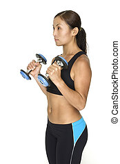 Hammer Curl 4 - A female fitness instructor demonstrates the...
