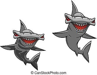 Hammer fish shark in cartoon style for mascot design