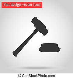 Hammer for the auction and the judge in the courtroom icon...