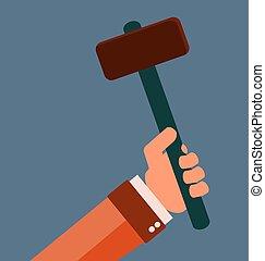 hammer, hånd., reparer, equipment., gummi, handle.