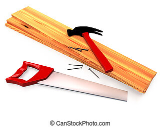 Hammer, hacksaw, wooden planks and nails on white background, isolated. 3D rendering