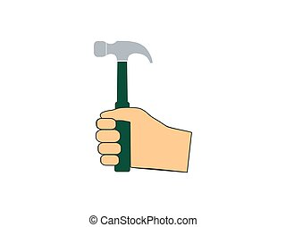 Hammer, hand, tool icon. Vector illustration, flat design...