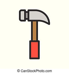 Hammer, handyman tool filled outline vector icon