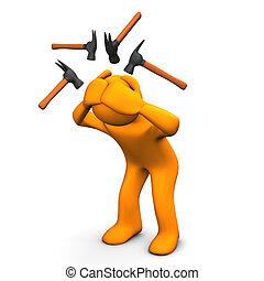 Hammer Headache - Orange cartoon character have headaches....