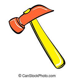 Hammer icon, cartoon style
