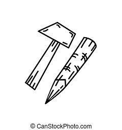 Hammer Icon vector. Doodle Hand Drawn or Black Outline Icon Style