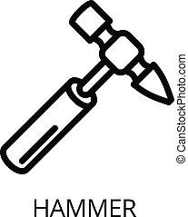 Hammer icon, outline style