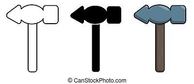 Hammer icon set. Isolated vector illustration