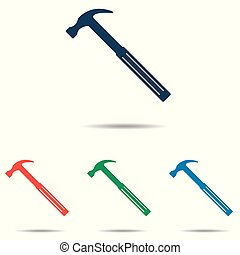Hammer icon set - simple flat design isolated on white background, vector