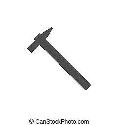 Hammer icon. Vector illustration, flat design. On white background.