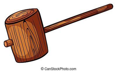 Hammer - Wooden hammer on white background